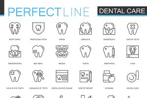 Dental care line icons set
