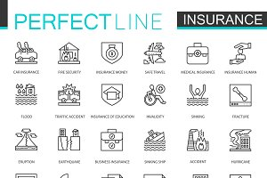 Insurance thin line icons set