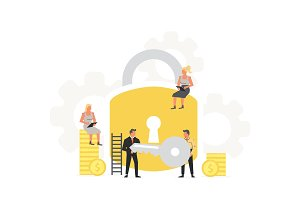 Businessman's hold a key and padlock