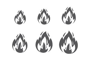 Set of fire sprites, flames symbol