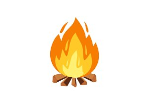 Campfire and camping sign or icon