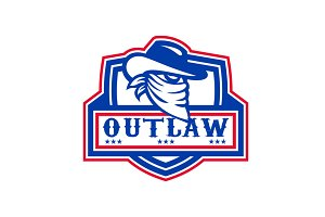 Outlaw Cowboy Mascot Shield
