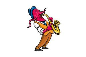 Crawfish Saxophone Player Mascot