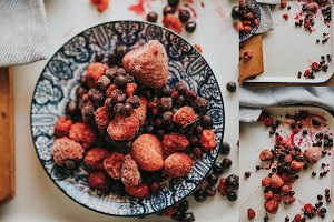 Frozen strawberries and blueberries