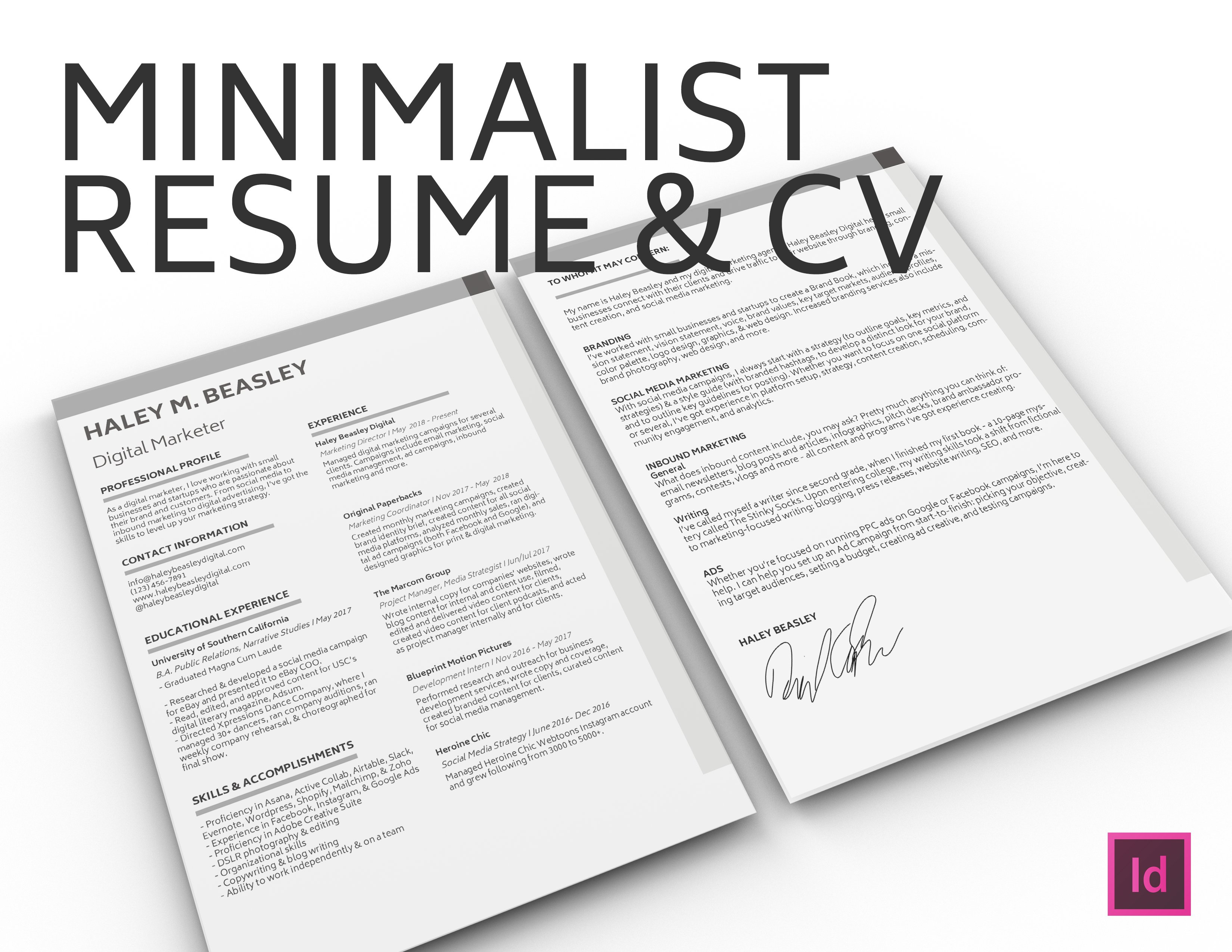 Minimalist Resume & Cover Letter