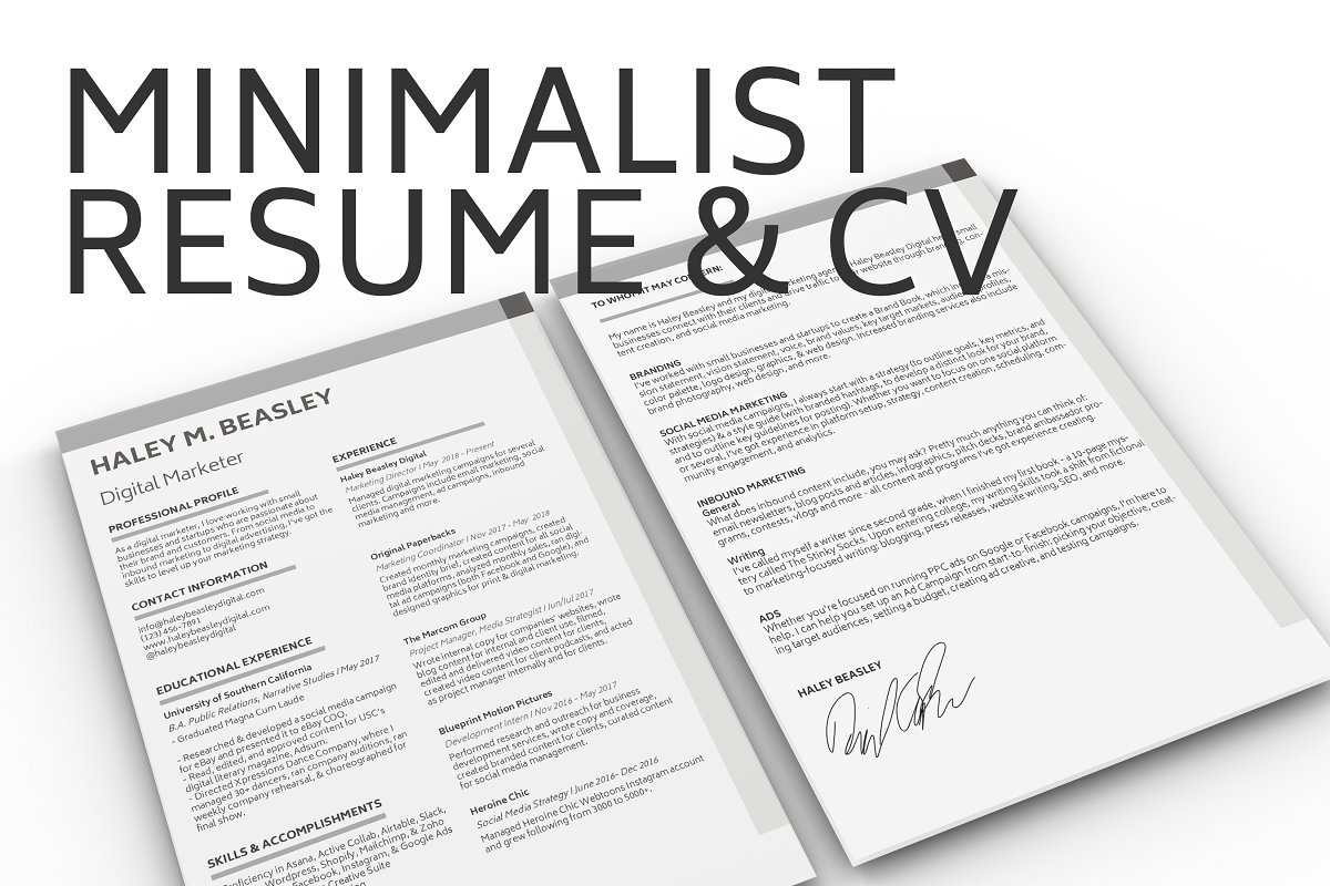 Minimalist Resume & Cover Letter ~ Cover Letter Templates ...