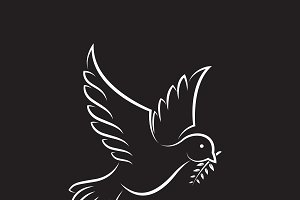 Dove of peace with olive branch.
