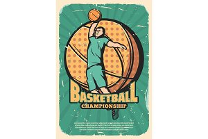 Basketball sport retro poster