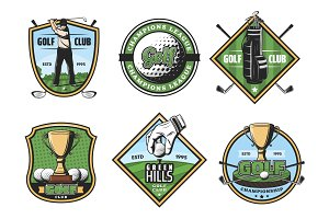 Golf game icons with sport items