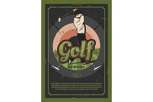 Golf sport game retro poster