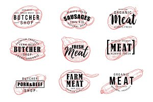Butchery or meat shop icons