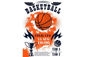 Basketball sport game poster