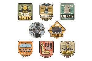 Car parts shop icons