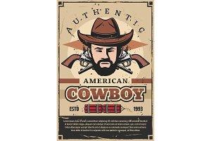 American cowboy retro poster