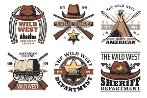 Wild West symbols with sheriff