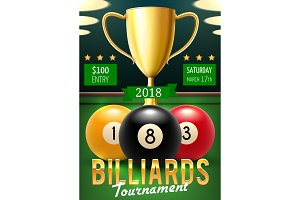 Billiards tournament poster