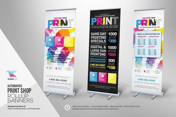 print shop roll up banner templates templates creative market