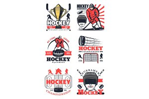 Hockey sport game icons