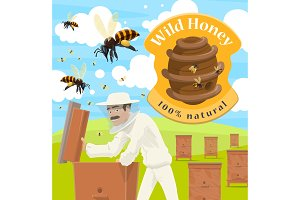 male beekeeper at apiary