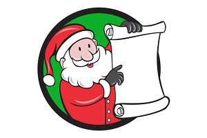 Santa Claus Paper Scroll Pointing Ci