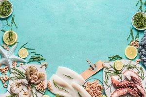 Seafood ingredients background