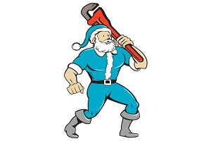 Santa Claus Plumber Monkey Wrench Is