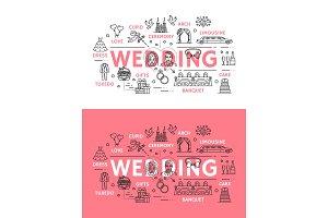 Wedding ceremony outline icons