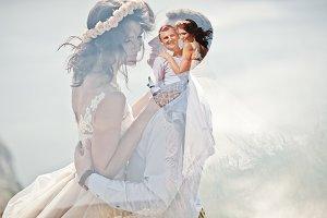 Lomographic photo of the wedding cou