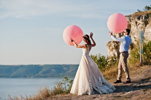 Gorgeous bride and groom having grea