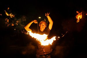 Fire show. Dance with Poi.