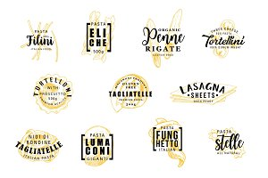 Pasta silhouettes on lettering