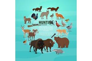 Hunting prey and gun