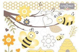 Bumble Bee clipart and digital paper