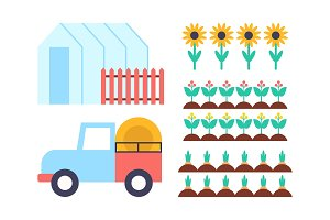 Greenhouse Conservatory Icons Vector