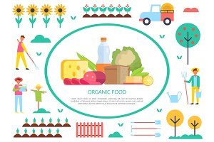Organic Food Poster Farming Vector