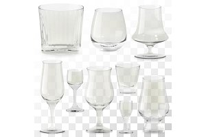 Set of realistic whiskey glasses