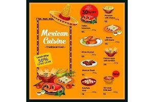 Mexican cuisine menu