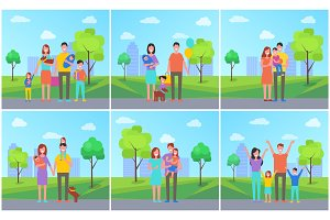 Family Parents in City Kids Vector