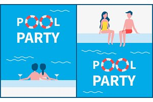 Pool Party Posters Text Set Vector