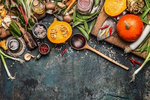 Autumn food, eating and cooking