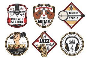 Music festival, karaoke, instruments