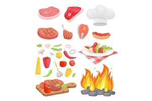 BBQ Set, Meat for Barbecue and Spice