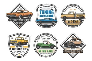 Car repair service and vehicle icons