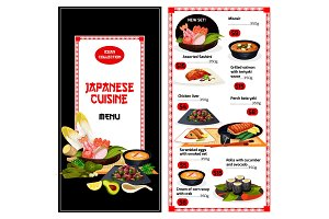 Japanese cuisine menu
