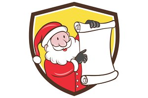 Santa Claus Paper Scroll Pointing Sh