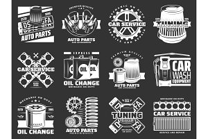 Car service and auto part icons