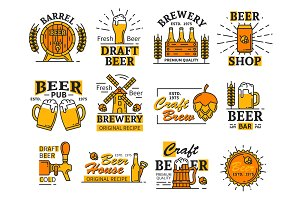 Beer house bar or brewery icons