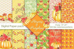 Pumpkins digital paper pack