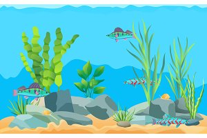 Colorful Cartoon Aquarium Fishes Set
