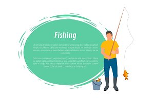 Fisherman with Fishing Rod, Fish and